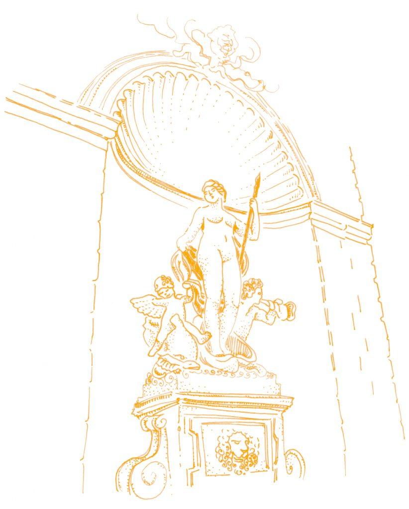 Illustrazione: Statua di Venere nella fontana del palazzo del Lloyd Triestino in Piazza Unità d'Italia