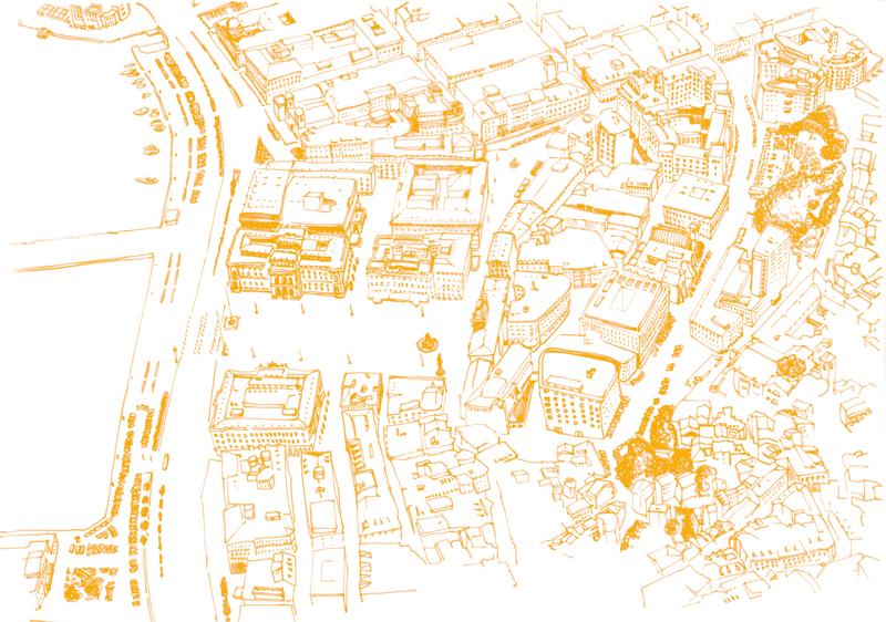 Illustrazione: Veduta dall'alto di Piazza Unita d'Italia
