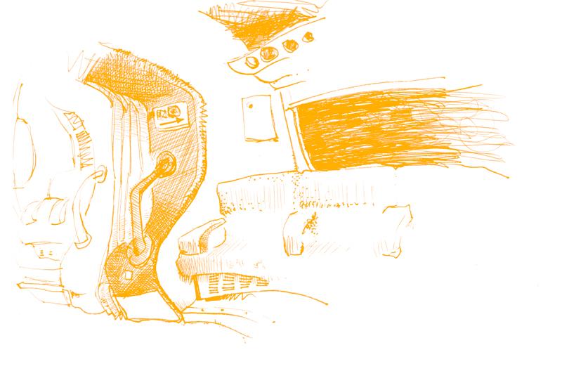 Illustrazione: interno della carrozza del treno